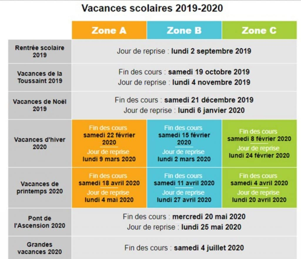 vacances scolaire 2019-2020